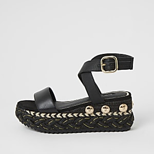 Black plaited espadrille flatform sandals
