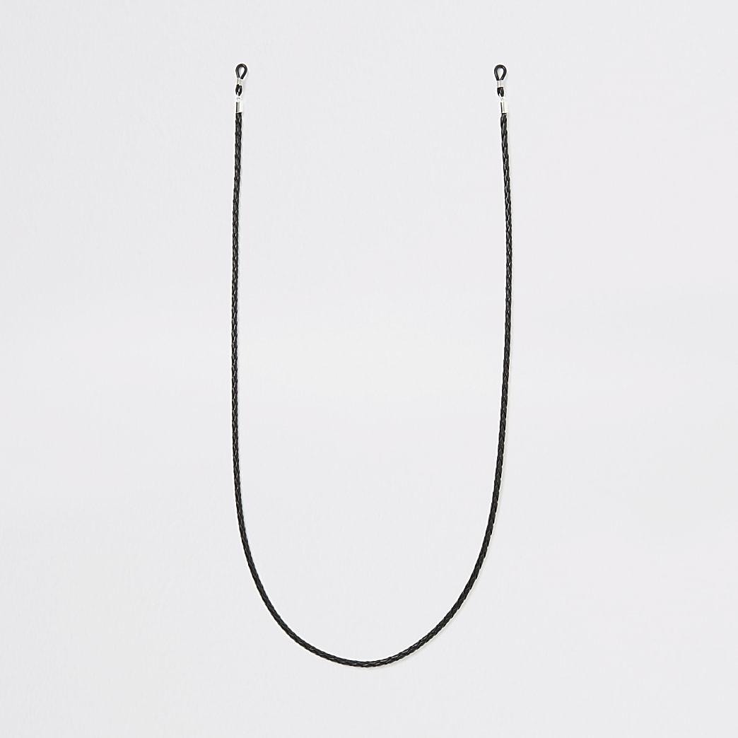 Geflochtene Sonnenbrillen-Seilkette in Schwarz