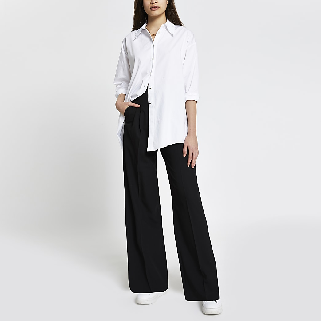 Black Pleat Front Wide Leg Trouser