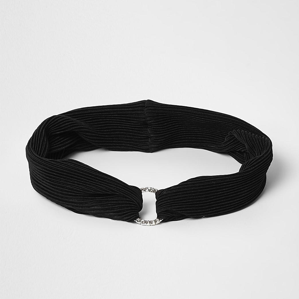 Bandeau noir plissé avec cercle pavé de strass