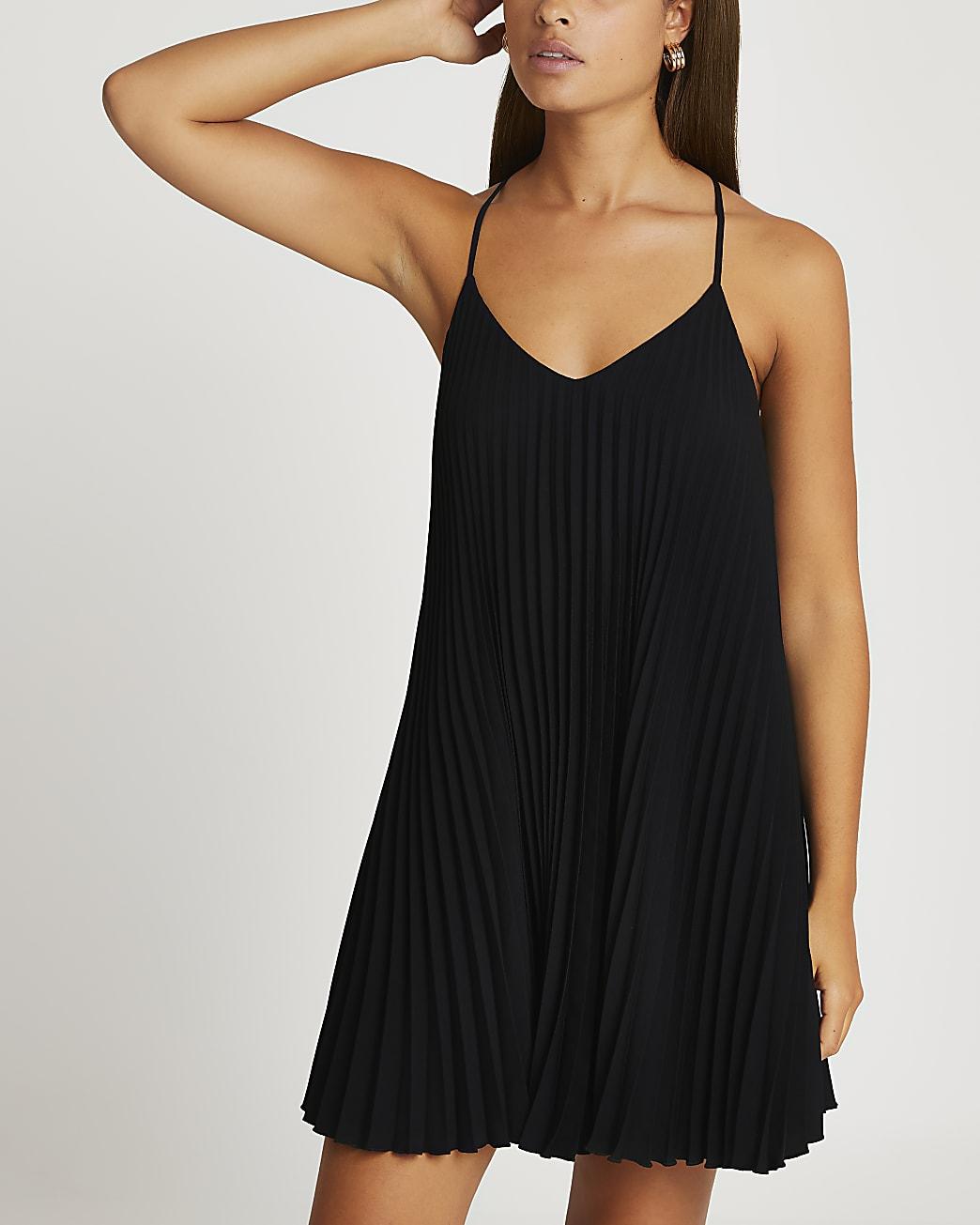 Black pleated sleeveless mini slip dress