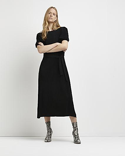 Black pleated tie waist midi dress