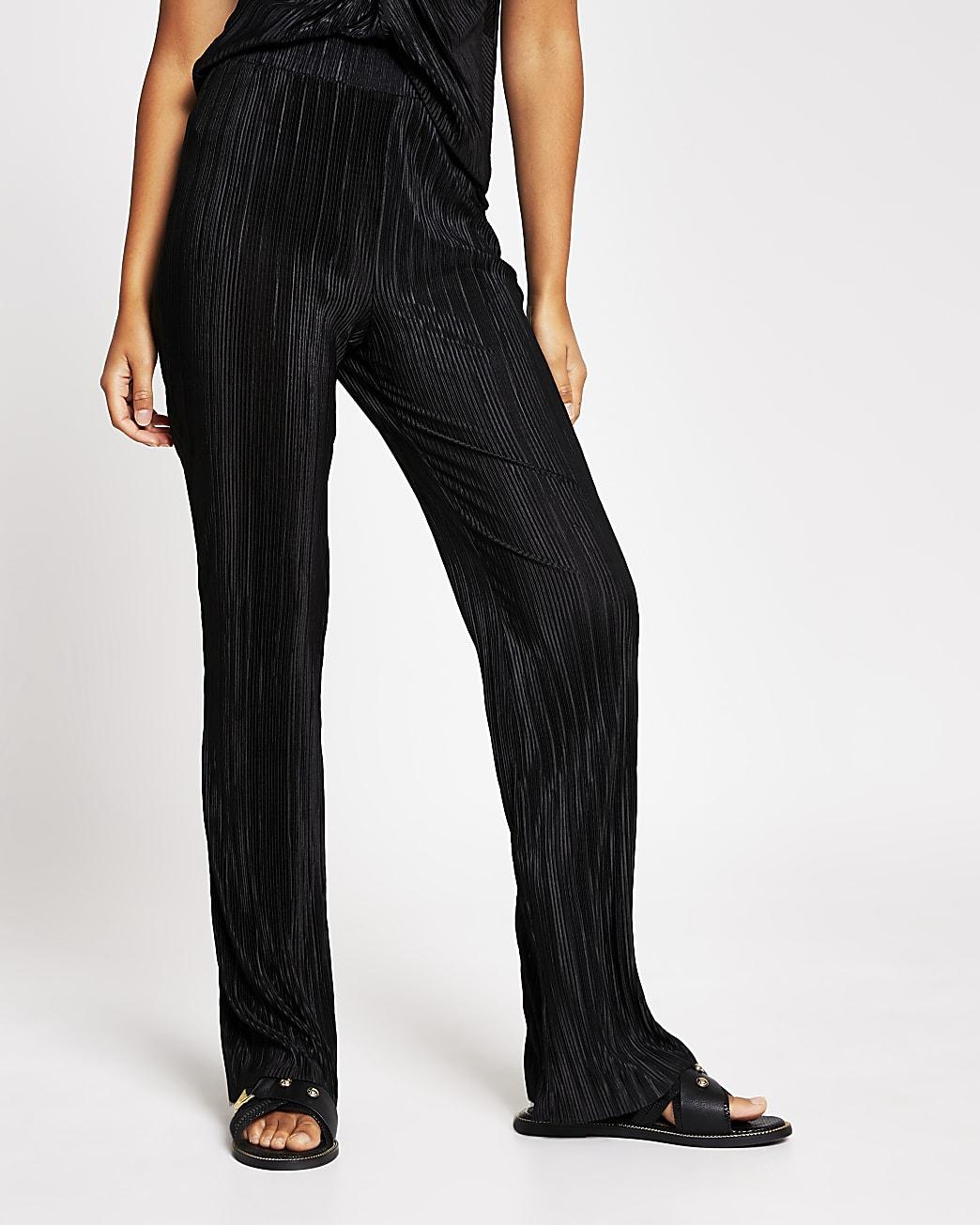 Black plisse kick flare trouser