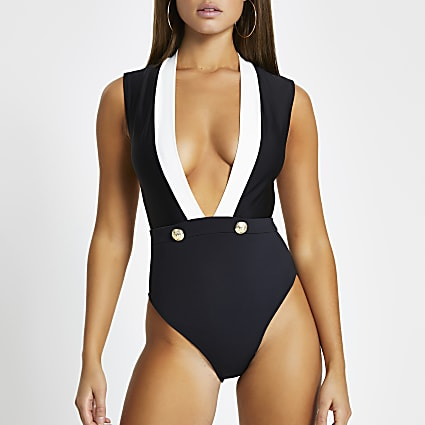 Black plunge button detail swimsuit