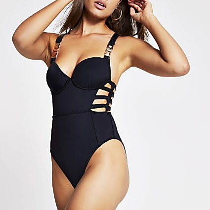 Black plunge strappy cut out swimsuit