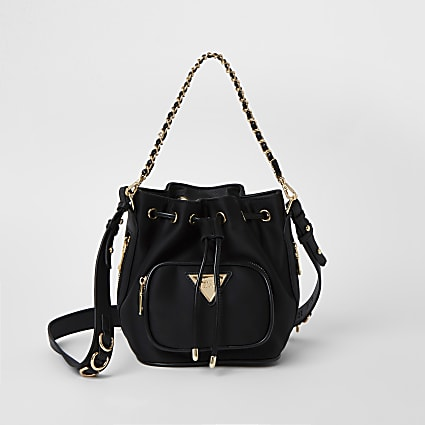 Black pocket front bucket bag