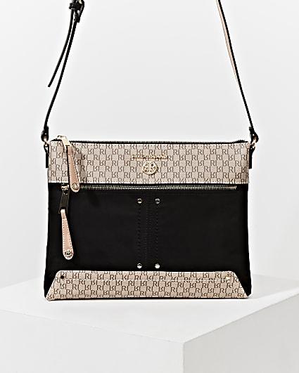 Black pocket front cross body messenger bag