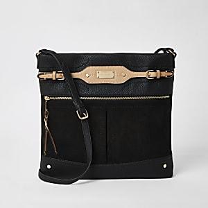 Schwarze, große Kuriertasche zum Umhängen mit Tasche