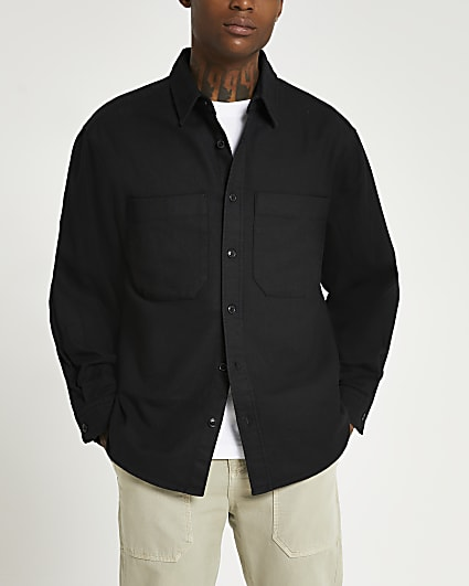 Black pocket oversized fit long sleeve shirt