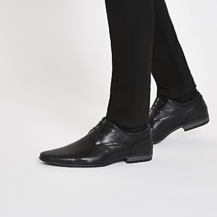Black pointed formal lace up shoes