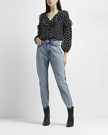 Black polka dot frill blouse
