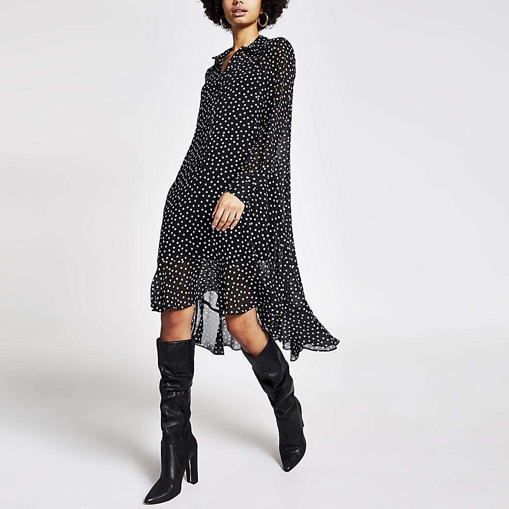 Schwarzes Midi-Swing-Kleid mit Punkten und Rüschen