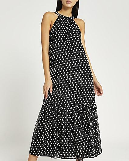 Black polka dot halter neck midi dress