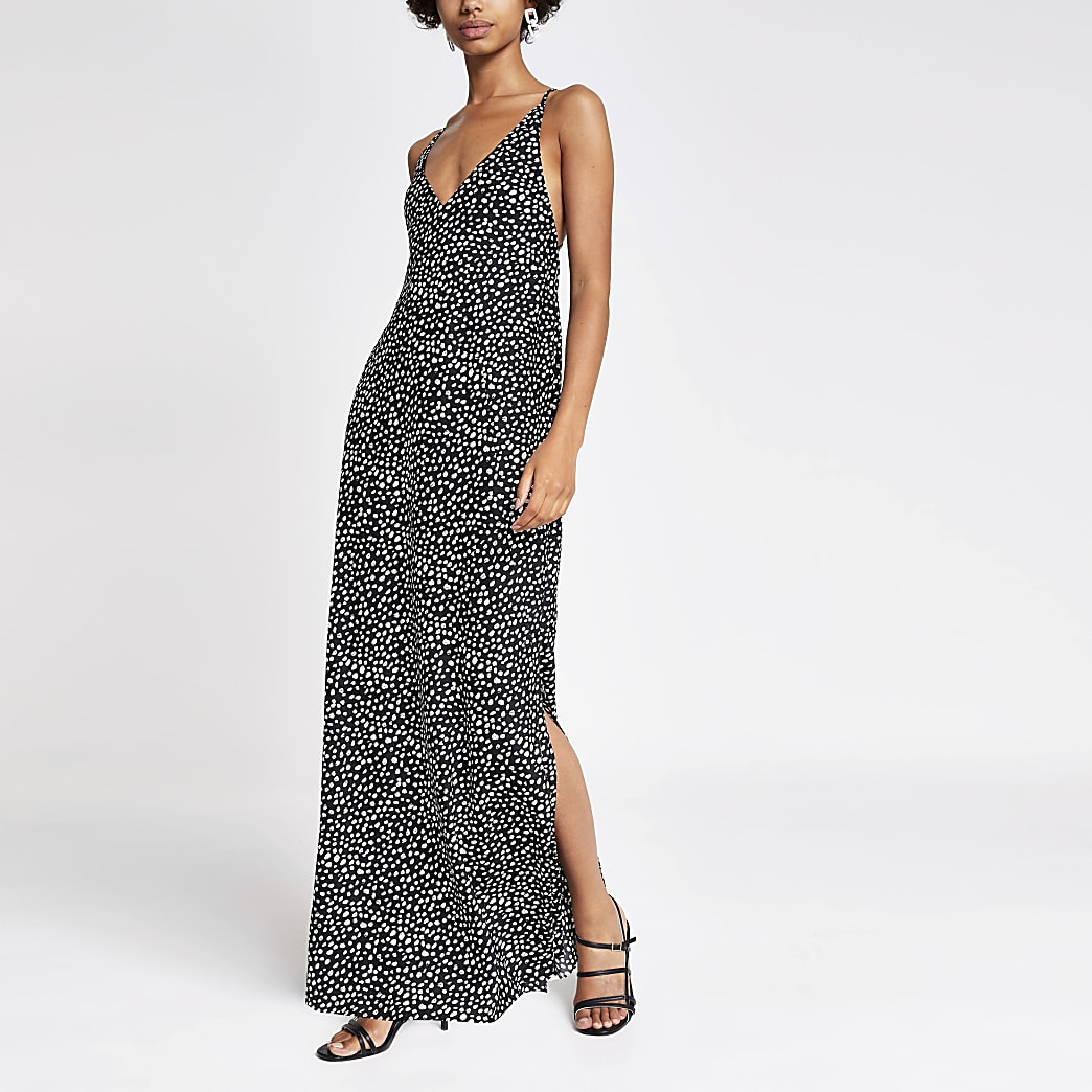 Black polka dot maxi slip dress