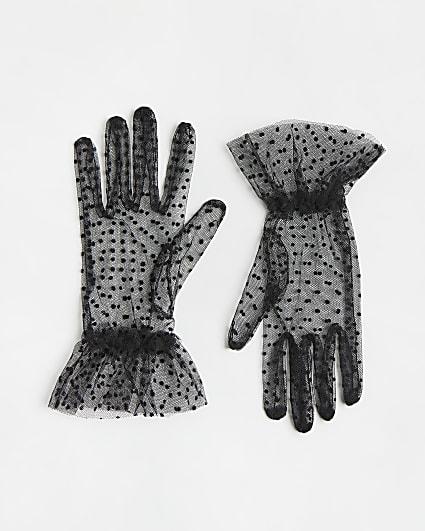 Black polka dot mesh gloves