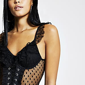 Black polka dot mesh lace-up corset bodysuit