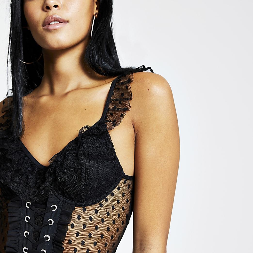 Black polka dot mesh lace-up corset bodysuit