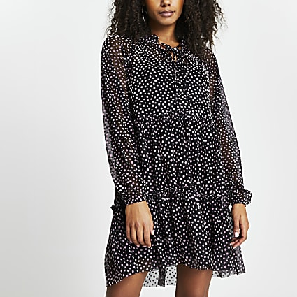 Black polka dot mesh mini dress