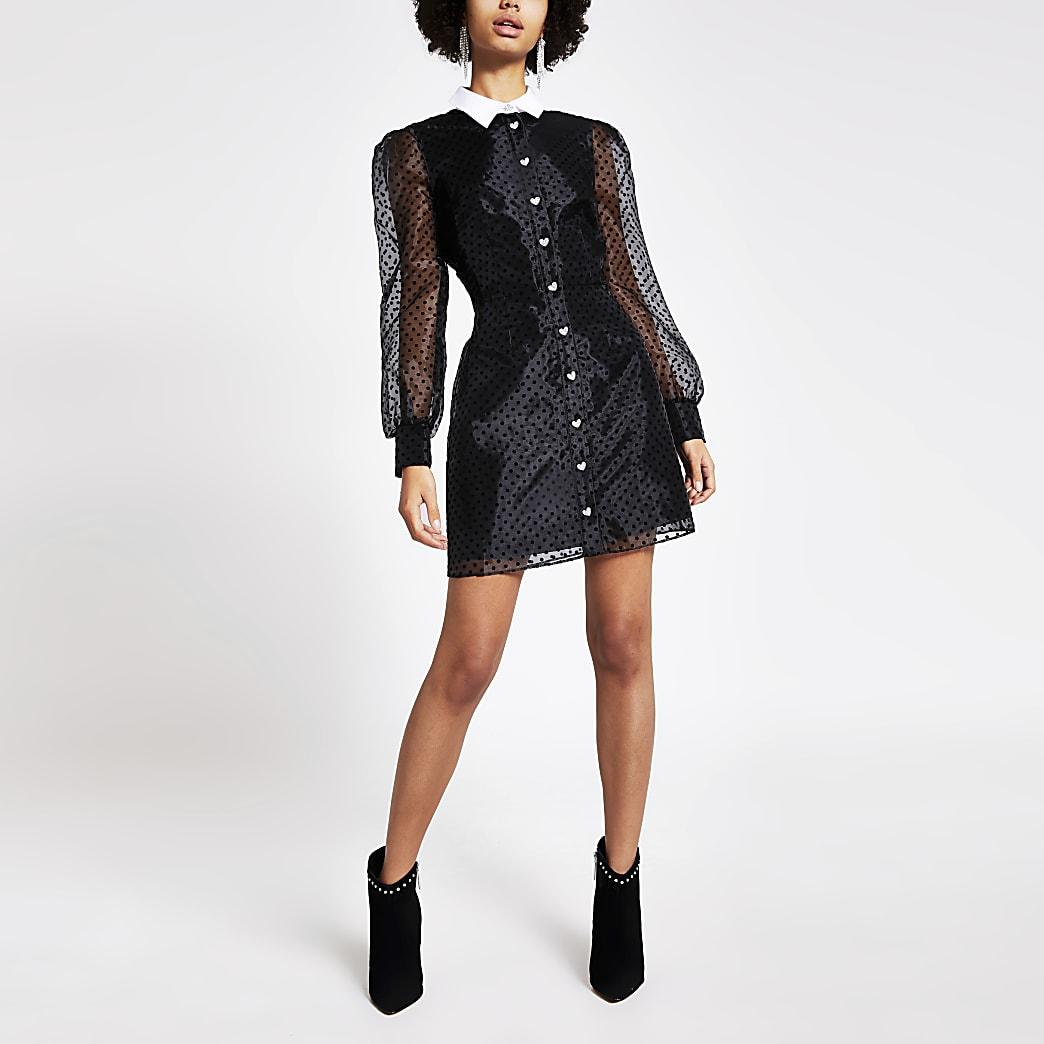 Black polka dot organza mini shirt dress