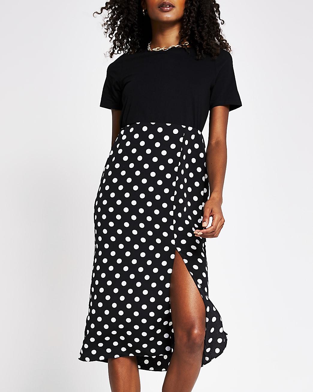 Black polka dot print short sleeve dress