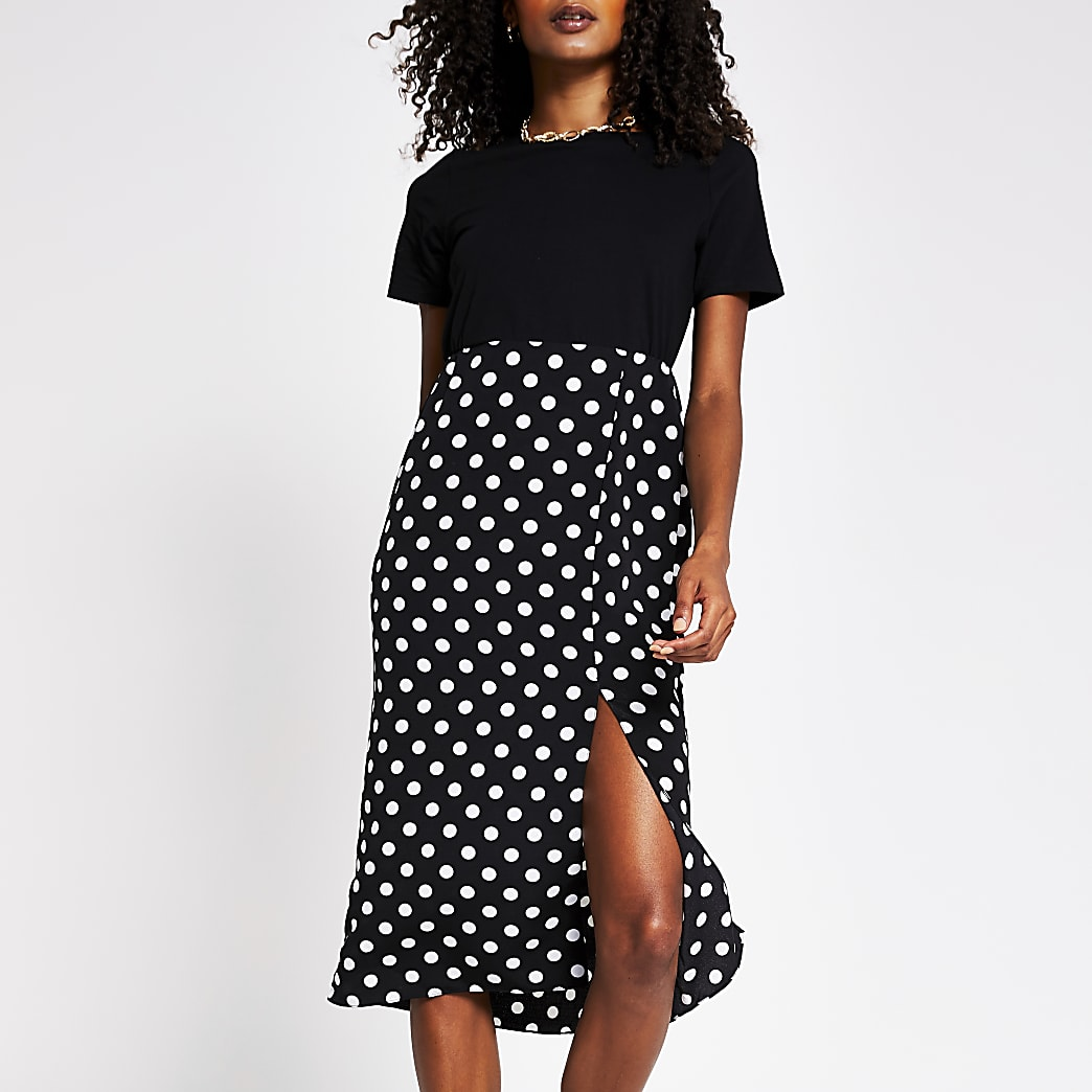 Black polka dot print short sleeve dress