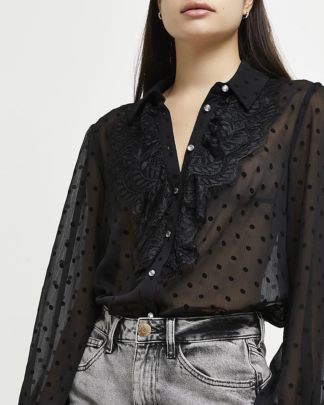 Black polka dot ruffled shirt