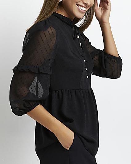 Black polka dot sheer tie neck blouse