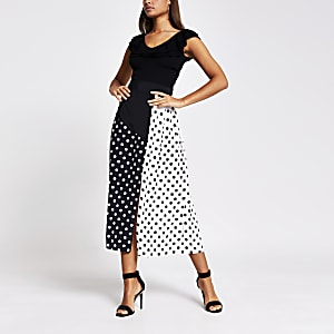 Black polka dot wrap kilt pleated midi