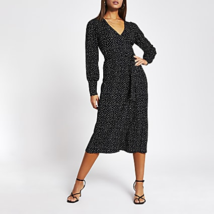 Black polka dot wrap tie midi dress