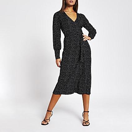 Black polka dot wrap tie midi dress