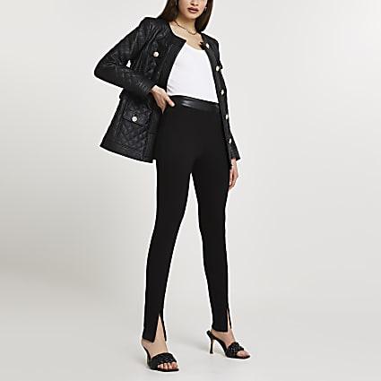 Black ponte zip split hem leggings