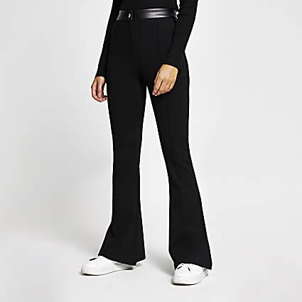 Black ponti flare leg trousers