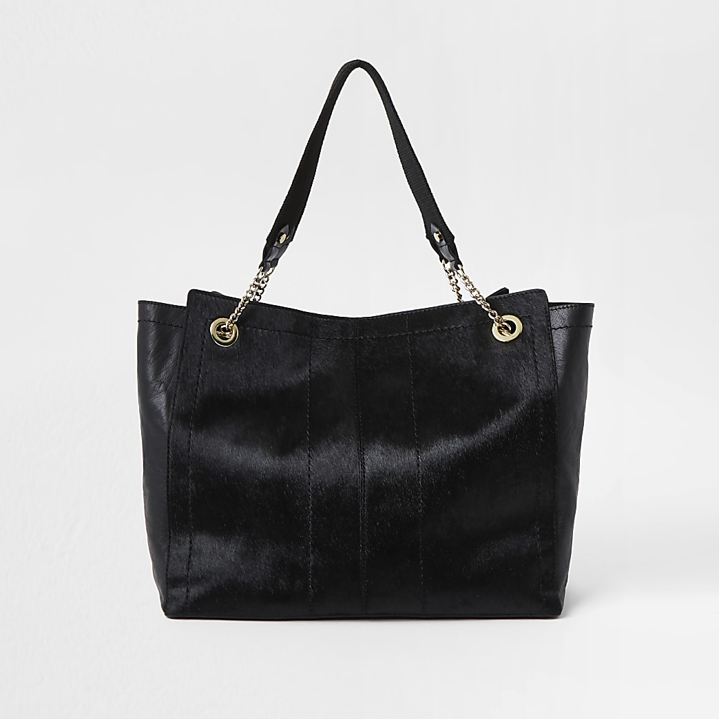 Black pony leather shopper tote handbag