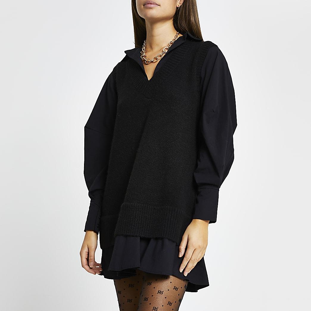 Black poplin knit tunic mini dress