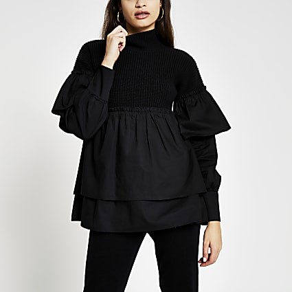Black poplin layer jumper