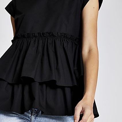 Black poplin peplum frill top