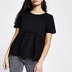 Black poplin pleated smock T-shirt