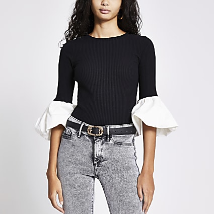 Black poplin sleeve ribbed top