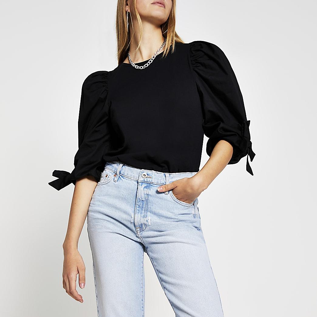 Black poplin tie cuff t-shirt