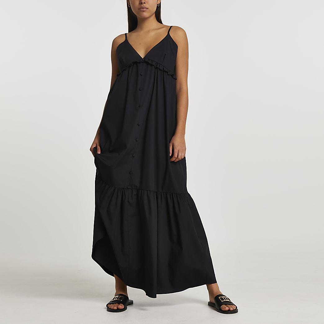 Black poplin tiered maxi dress