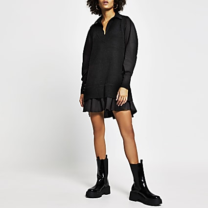 Black poplin tunic dress