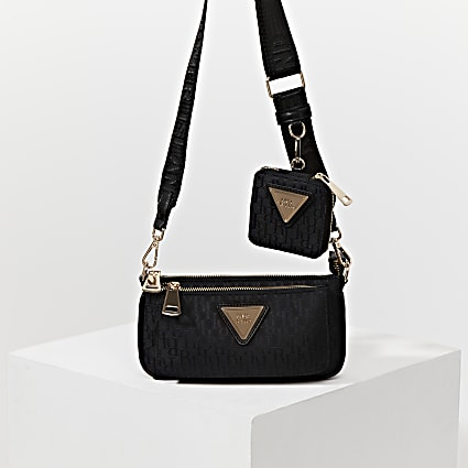 Black pouchette monogram cross body handbag