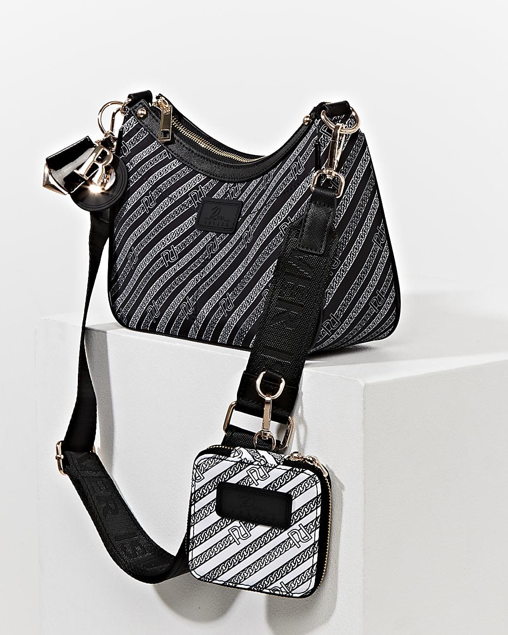 Black pouchette RI chain crossbody bag
