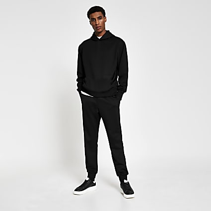 Black premium regular fit hoodie