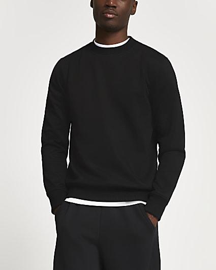 Black premium slim fit sweatshirt