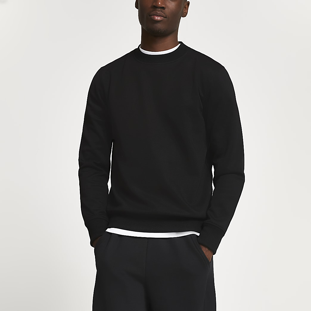 Black premium slim fit sweatshirt