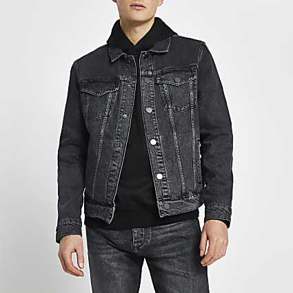 Black premium washed denim jacket