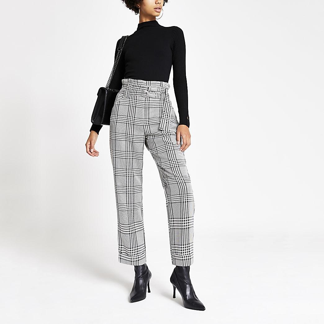 Schwarze Hose mit Print und Gürtel