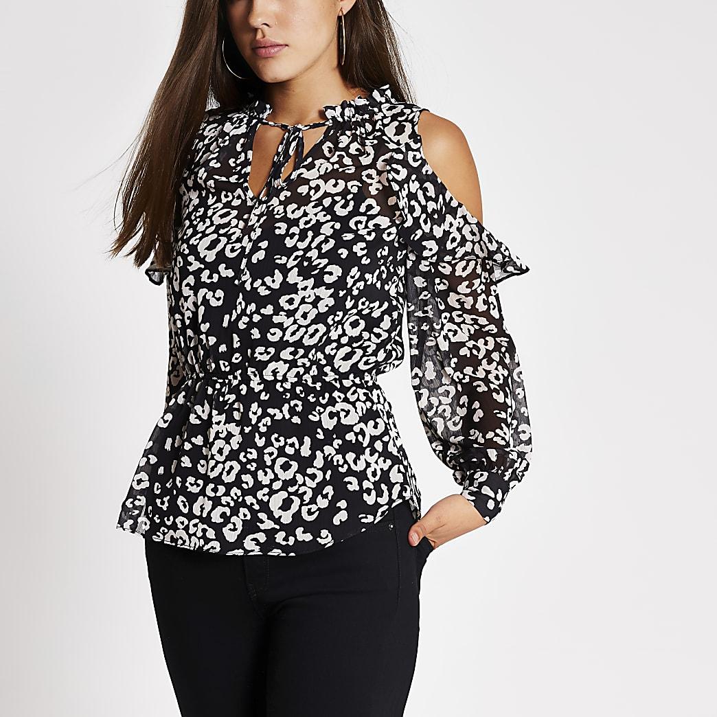 Black print cold shoulder sheer blouse