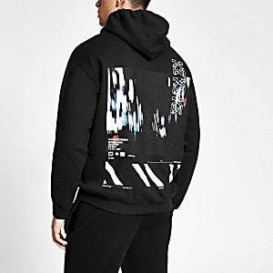 Zwarte hoodie met print en lange mouwen